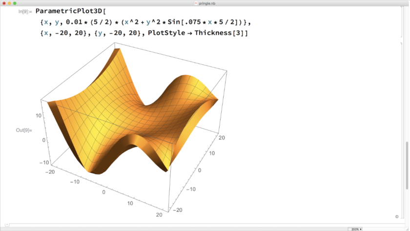 Mathematica screenshot: ParametricPlot3D