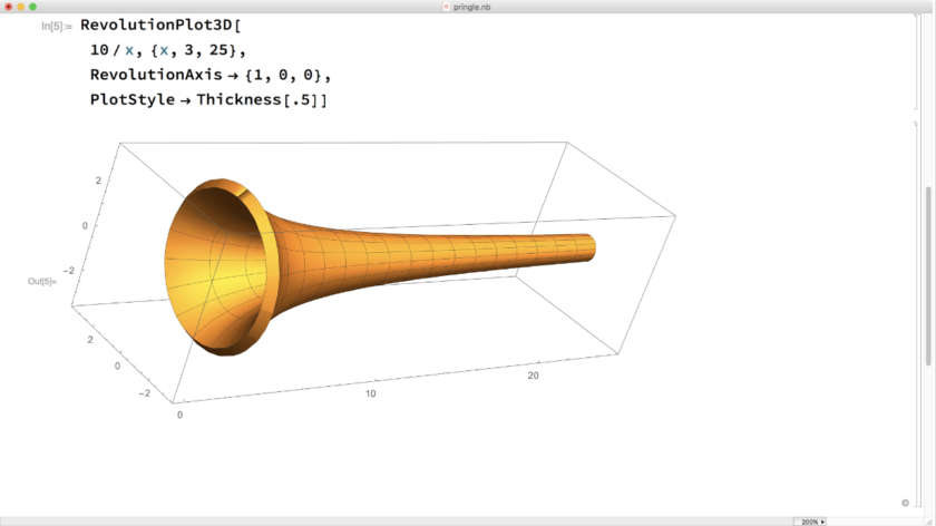 Mathematica screenshot: RevolutionPlot3D