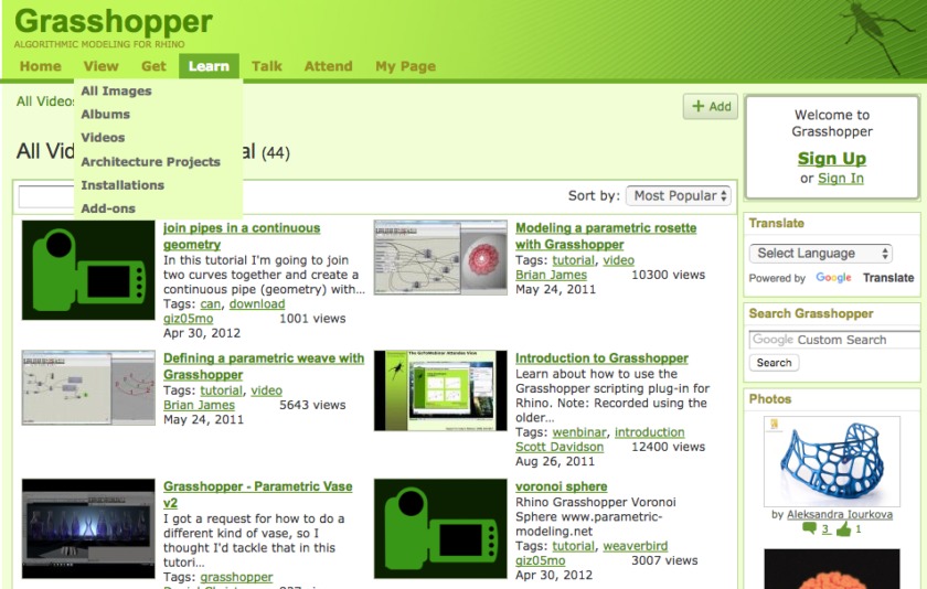 Grasshoper Learn web page