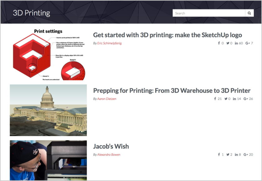 SketchUp 3D Printing resources screenshot