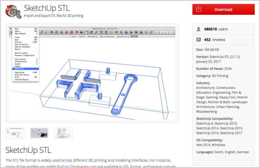 SketchUp STL import and export extension screenshot