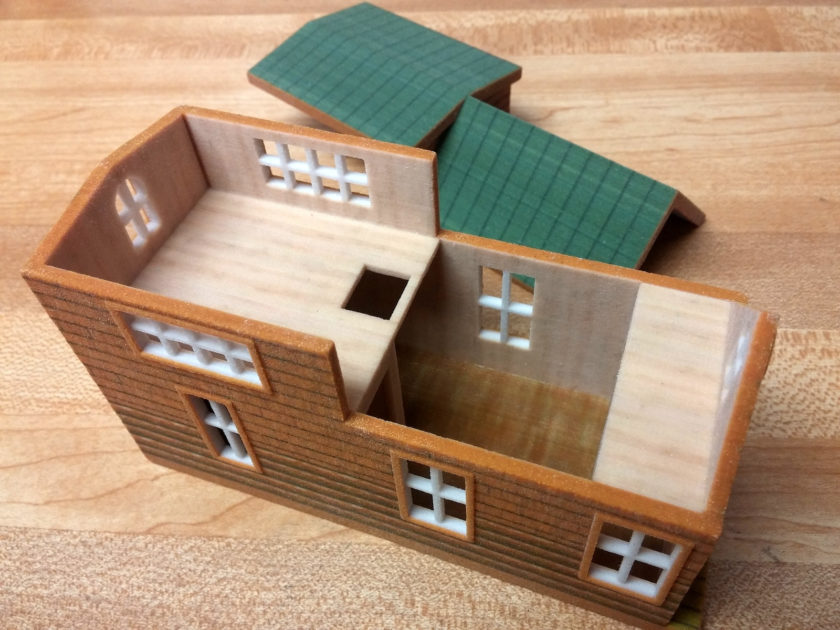 1:48 scale 3D Printed teeny tiny cabin in color by d12dozr on sketchUcation