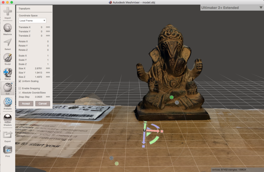Screenshot of Ganesha Statue 3D model in Meshmixer