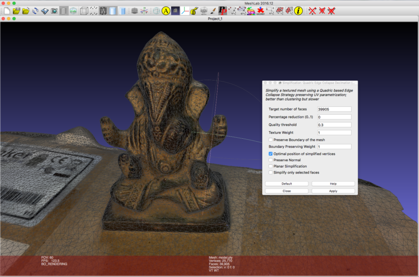 Screenshot of Ganesha Statue model in Meshlab