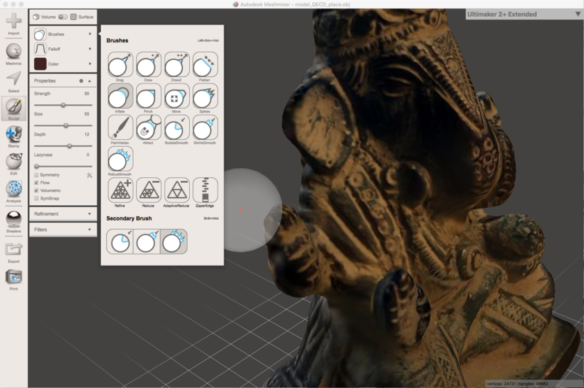 Use the Inflate brush in Meshmixer to strengthen thin and fragile areas of the 3D model