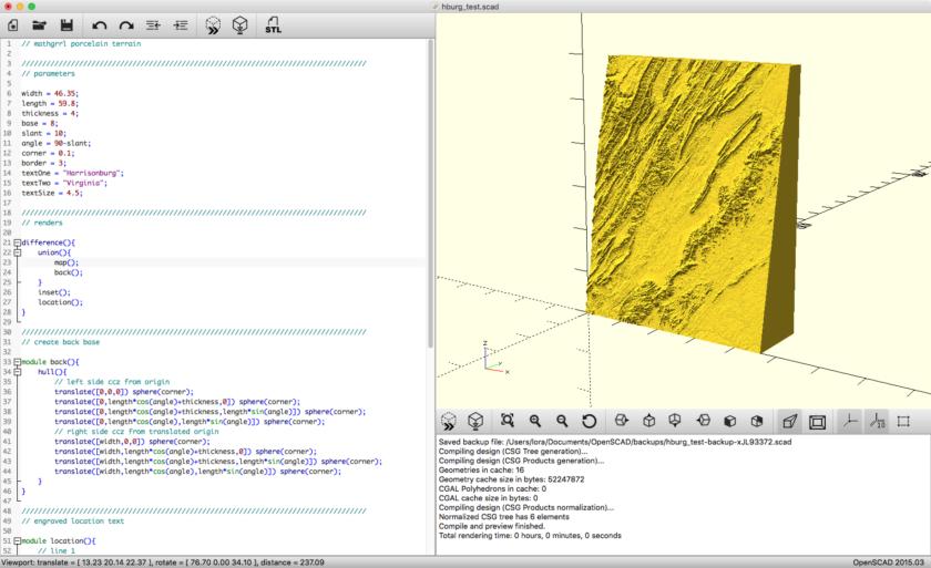 // mathgrrl porcelain terrain OpenSCAD code
