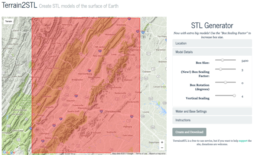 Terrain2STL STL Generator: Create STL models of the surface of Earth