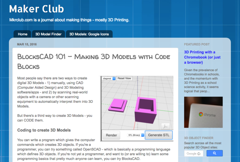 Maker Club BlocksCAD 101