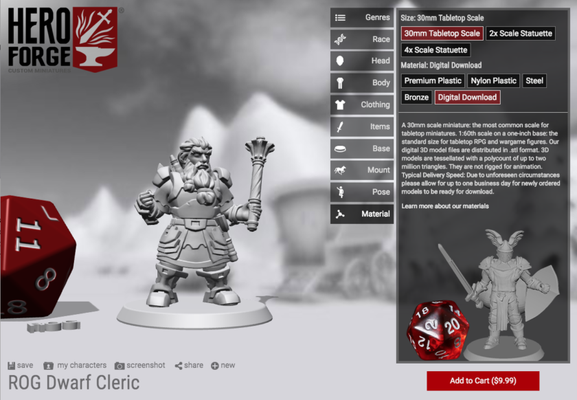 Hero Forge custom D&D tabletop gaming character creator tutorial screenshot