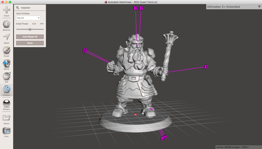 Tutorial for Hero Forge Meshmixer 3D model edit of custom D&D tabletop gaming character creator